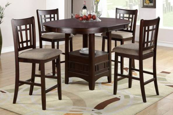 New 5 Pcs Counter Height Dining Room Table And Chair Made Of Wood With Dark R
